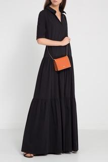 Черное хлопковое платье с воланами Tegin