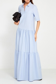 Голубое хлопковое платье с воланами Tegin