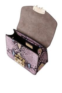 Розовая сумка из тисненой кожи Metropolis Furla