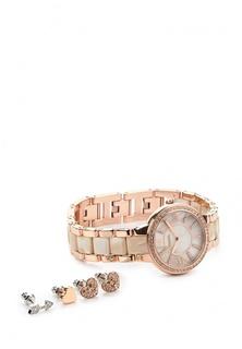 Комплект серьги и часы Fossil