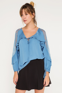 Свободная блуза с полупрозрачными вставками BGN
