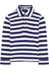 Хлопковое поло в полоску с логотипом бренда Polo Ralph Lauren