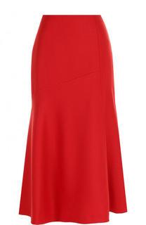 Однотонная шерстяная юбка-миди BOSS