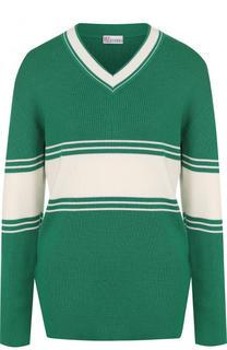 Шерстяной пуловер с V-образным вырезом REDVALENTINO