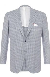 Однобортный пиджак из смеси шелка и кашемира со льном Kiton