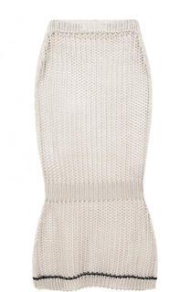 Льняная юбка-миди фактурной вязки Victoria Beckham