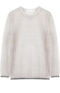 Льняной пуловер фактурной вязки с круглым вырезом Victoria Beckham