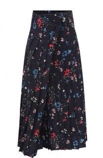 Юбка-миди в складку с цветочным принтом и широким поясом Balenciaga