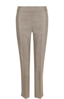 Укороченные брюки из смеси шерсти и шелка со стрелками St. John