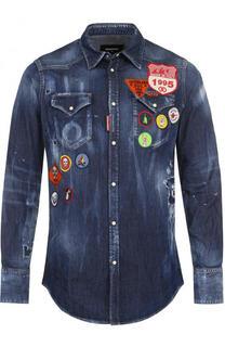 Джинсовая рубашка с нашивками и потертостями Dsquared2