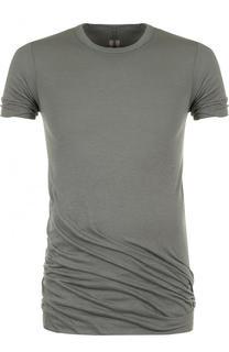 Удлиненная хлопковая футболка с круглым вырезом Rick Owens