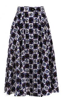Шелковая юбка-миди с принтом и широким поясом Emilio Pucci
