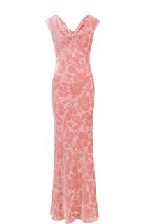 Приталенное платье-макси с бархатной отделкой St. John