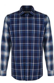 Хлопковая рубашка в клетку с отделкой Givenchy