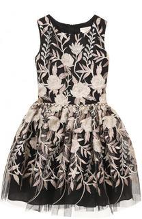 Мини-платье с металлизированной вышивкой и стразами на поясе David Charles