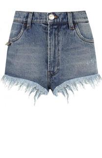 Джинсовые мини-шорты с потертостями Versace