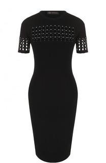 Платье-карандаш с перфорацией и коротким рукавом Versace