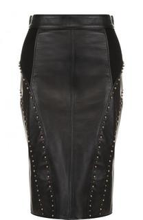 Кожаная юбка-карандаш с металлизированной отделкой Versace
