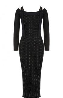 Приталенное платье-миди с длинным рукавом Versace