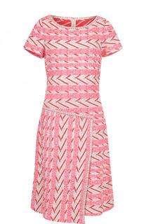 Приталенное платье-миди с круглым вырезом St. John