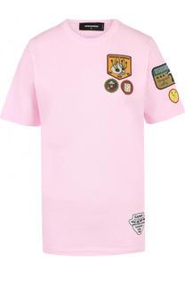 Хлопковая футболка прямого кроя с нашивками Dsquared2
