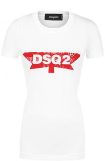 Приталенная хлопковая футболка с логотипом бренда Dsquared2