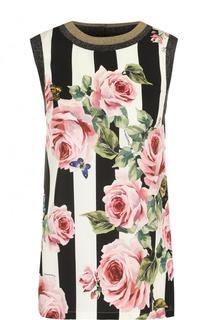 Шелковый топ в полоску с цветочным принтом Dolce & Gabbana