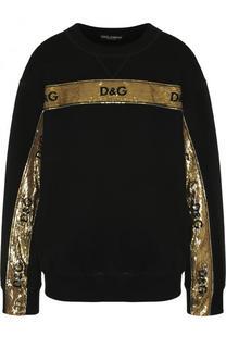 Хлопковый свитшот с контрастной вышивкой пайетками Dolce & Gabbana
