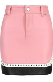 Кожаная мини-юбка с карманами Dsquared2
