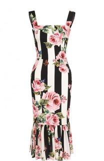 Шелковое платье-миди в полоску с цветочным принтом Dolce & Gabbana