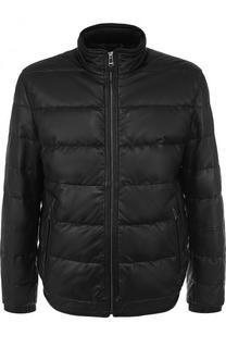 Утепленная кожаная куртка на молнии Windsor