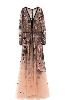 Прозрачное платье-макси с контрастной вышивкой Elie Saab