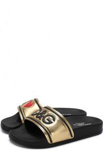 Кожаные шлепанцы с металлизированной отделкой Dolce & Gabbana