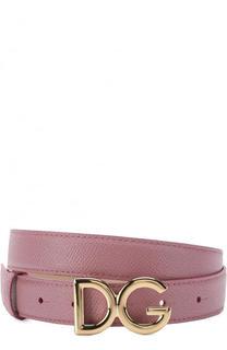 Кожаный ремень с пряжкой в виде логотипа бренда Dolce & Gabbana