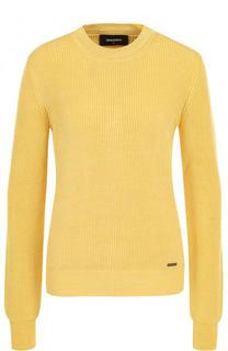 Шерстяной пуловер фактурной вязки с круглым вырезом Dsquared2