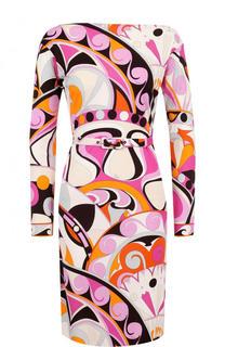 Приталенное платье-миди с поясом и принтом Emilio Pucci
