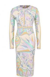Приталенное платье-миди с принтом Emilio Pucci
