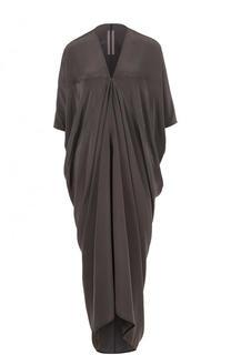 Шелковое платье-миди с драпировкой Rick Owens