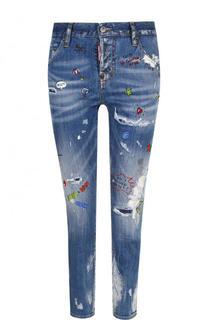 Укороченные джинсы прямого кроя с потертостями и принтом Dsquared2