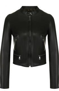 Приталенная кожаная куртка с воротником-стойкой Dolce & Gabbana