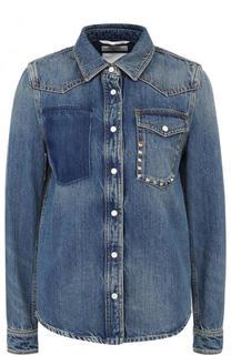Джинсовая блуза прямого кроя с потертостями Valentino