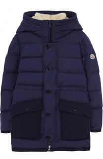 Пуховая куртка с накладными карманами и капюшоном Moncler Enfant