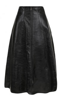 Однотонная кожаная юбка-миди Fendi