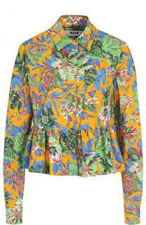 Хлопковая блуза с принтом и оборкой MSGM