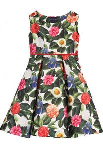 Платье из хлопка и шелка с принтом и контрастным поясом Oscar de la Renta