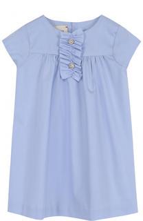 Хлопковое мини-платье свободного кроя с оборкой Gucci