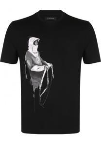 Хлопковая футболка с принтом Ermenegildo Zegna