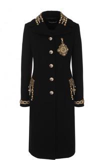 Приталенное шерстяное пальто с контрастной отделкой Dolce & Gabbana