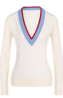 Приталенный шерстяной пуловер с V-образным вырезом BOSS