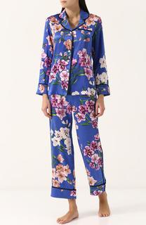 Шелковая пижама с цветочным принтом Olivia Von Halle